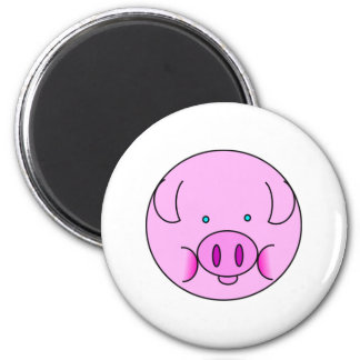 Cute Pink Pig Face Cartoon for Pig Lovers 6 Cm Round Magnet