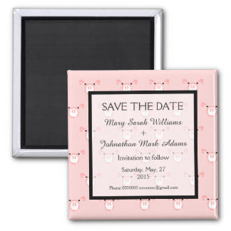 Cute Pink Pig Face Fun Wedding Save The Date Square Magnet
