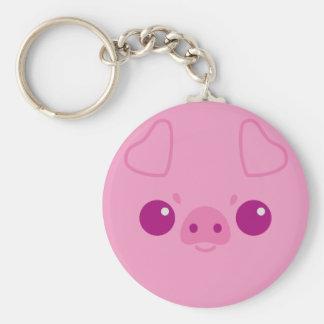 Cute Pink Pig Face Key Chain