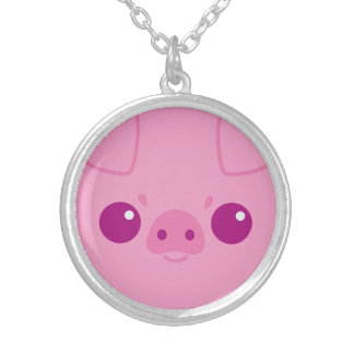 Cute Pink Pig Face Custom Necklace