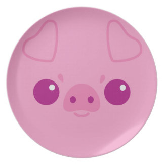 Cute Pink Pig Face Party Plate