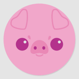 Cute Pink Pig Face Round Sticker