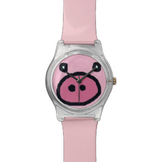 cute pink pig face wristwatches