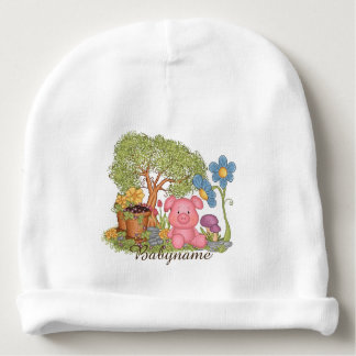 Cute Pink Pig Gardening Flowers Personalized Baby Beanie
