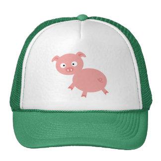 Cute Pink Pig; Green Mesh Hats