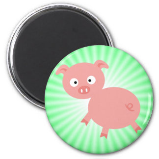 Cute Pink Pig Green Magnets