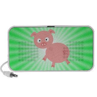 Cute Pink Pig Green Laptop Speaker