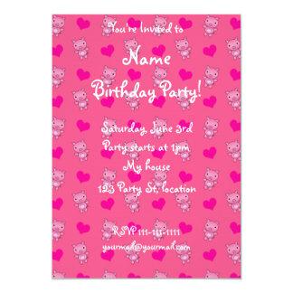 Cute pink pig hearts pattern 13 cm x 18 cm invitation card