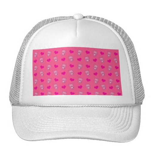 Cute pink pig hearts pattern hat
