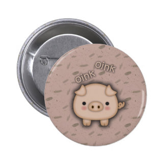 Cute Pink Pig Oink Pink Background Buttons