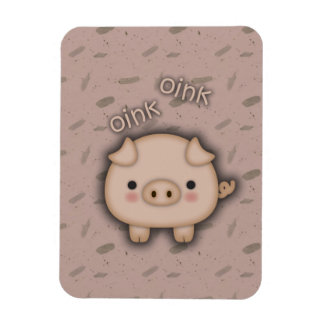 Cute Pink Pig Oink Pink Background Rectangular Magnets