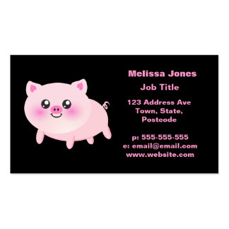 Cute Pink Pig on Black Business Cards