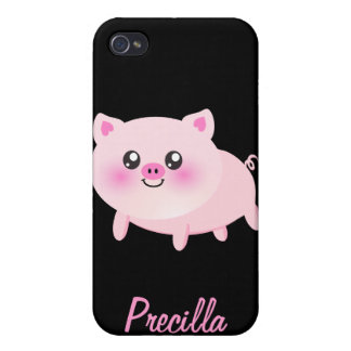 Cute Pink Pig on Black Cover For iPhone 4