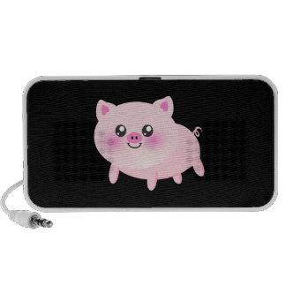 Cute Pink Pig on Black Mp3 Speakers