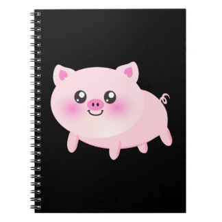 Cute Pink Pig on Black Note Books