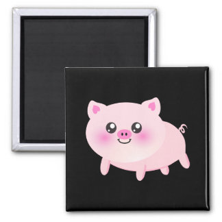 Cute Pink Pig on Black Square Magnet