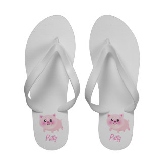 Cute Pink Pig on White Sandals