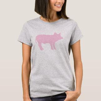 Cute Pink Pig Piglet Piggy Silhouette Outline T-Shirt