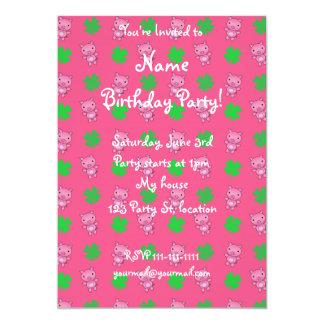 Cute pink pig shamrocks pattern 13 cm x 18 cm invitation card