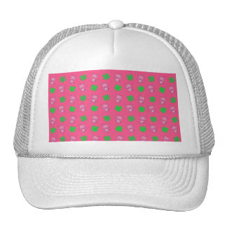 Cute pink pig shamrocks pattern trucker hat