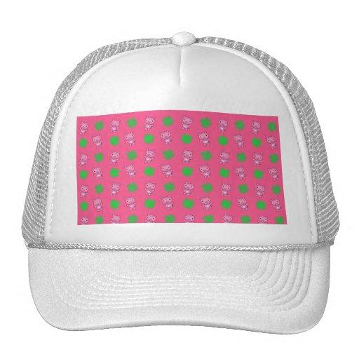 Cute pink pig shamrocks pattern mesh hats