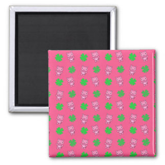 Cute pink pig shamrocks pattern fridge magnet
