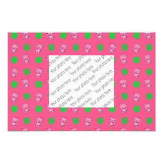 Cute pink pig shamrocks pattern photographic print