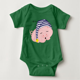Cute Pink Pig Sleeping in Nightcap Baby Bodysuit