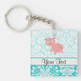 Cute Pink Pig; Teal Damask Double-Sided Square Acrylic Key Ring