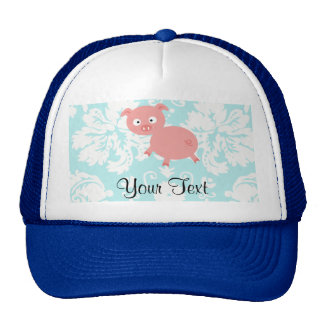 Cute Pink Pig Teal Damask Trucker Hats