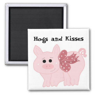 Cute Pink Pig with Funny Saying Square Magnet