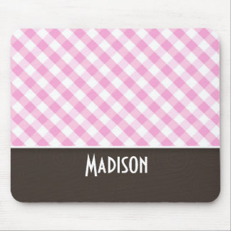 Cute Pink Plaid; Checkered Mouse Pad