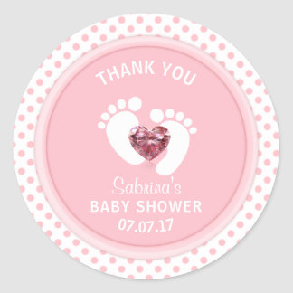 Cute Pink Polka Dot Baby Shower/Sprinkle Girl Round Sticker
