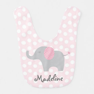 Cute Pink Polka Dot Elephant Bib