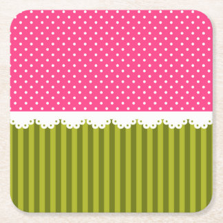 Cute Pink Polka Dot Green Stripes Pattern Square Paper Coaster