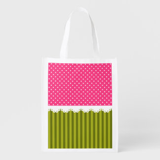 Cute Pink Polka Dot Green Stripes Pattern Reusable Grocery Bag