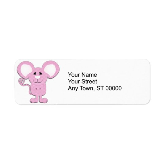 cute pink polka dot mousey mouse return address label
