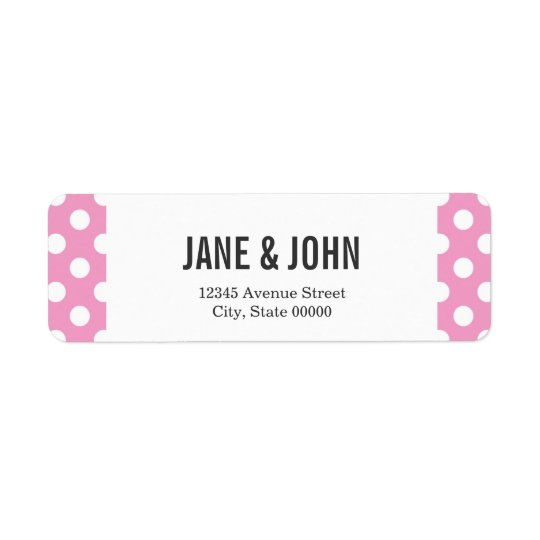 Cute Pink Polka Dots Pattern Return Address Label