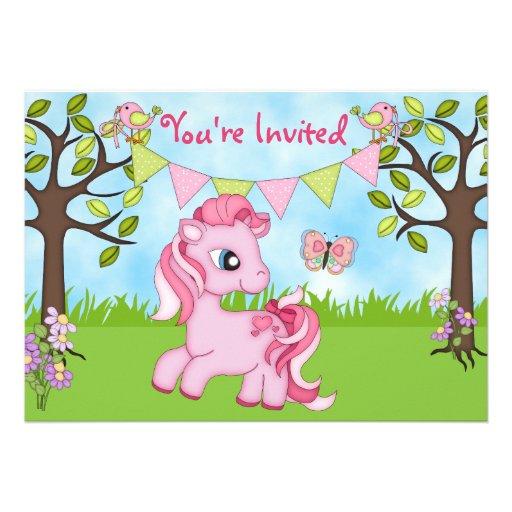 Cute Pink Pony Horse Birthday Invitations