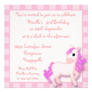 Cute Pink Pony Horse Childrens Party Invitations
