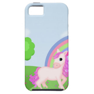Cute Pink Pony Horse in Colorful Fields iPhone 5 Cases