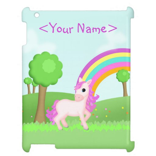 Cute Pink Pony Horse in Colorful Fields Scene Case For The iPad 2 3 4