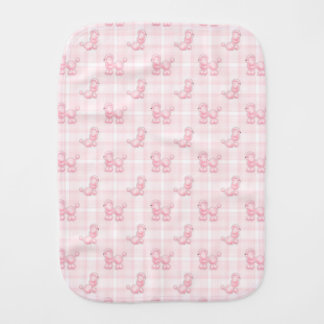 Cute Pink Poodles & Checks Burp Cloth