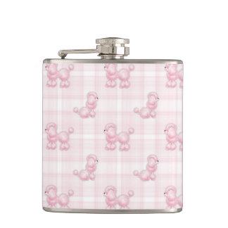 Cute Pink Poodles & Checks Hip Flask