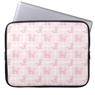 Cute Pink Poodles & Checks Laptop Sleeve