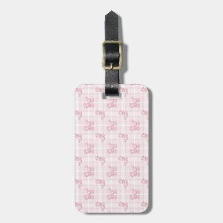 Cute Pink Poodles & Checks Luggage Tag