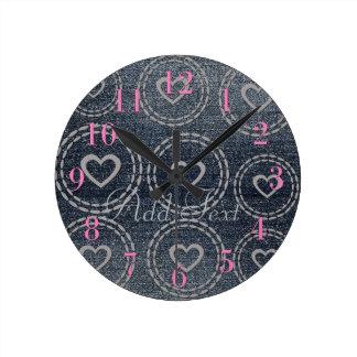 Cute Pink Princess Blue Denim Pattern  Wall  Clock