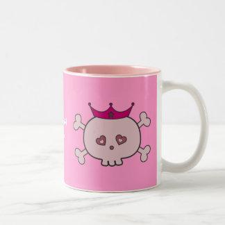Cute Pink Princess Skulls Personalized Two-Tone Mug