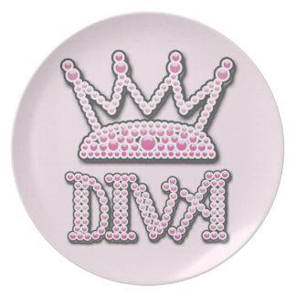 Cute Pink Printed Pearls Diva Princess Crown Plate