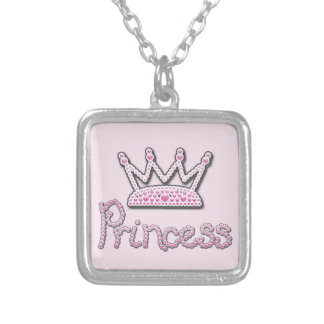 Cute Pink Printed Pearls Princess Crown Silver Plated Necklace